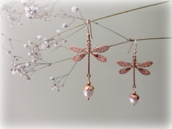 Golden Brass Dragonflies - long earrings freshwater pearls vintage style art deco nouveau woodland jewelry Nature lover