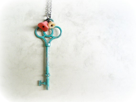 Garden Key - Romantic necklace Teal blue verdigris patina Peach pink white Czech flowers Antiqued silver chain