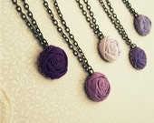 Rose Flower Bridesmaid Necklaces in Purple Hues of Violet, Grape, Orchid, Crocus & Heliotrope Fabric - Custom Made Set of 4