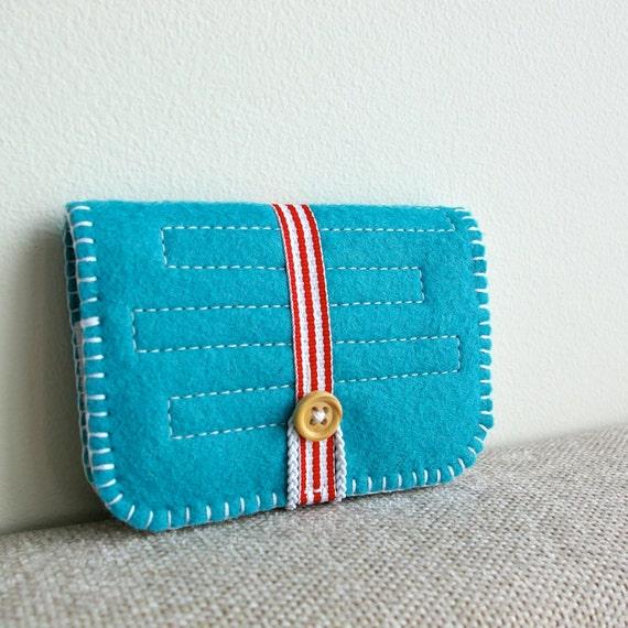 Made to Order Handmade Wool Felt Card Wallet in Peacock Blue by LoftFullOfGoodies