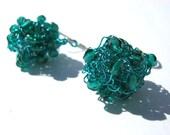 Aqua Blue Earrings, Knitted Balls of Wire, Beaded Jewelry