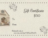 Gift Certificate for Old House Parts Co - Fifty Dollars