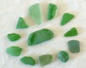 Green Sea Glass, Beach Glass, Genuine Surf Tumbled, Found Object, Supplies for Jewelry, Crafts, Destash