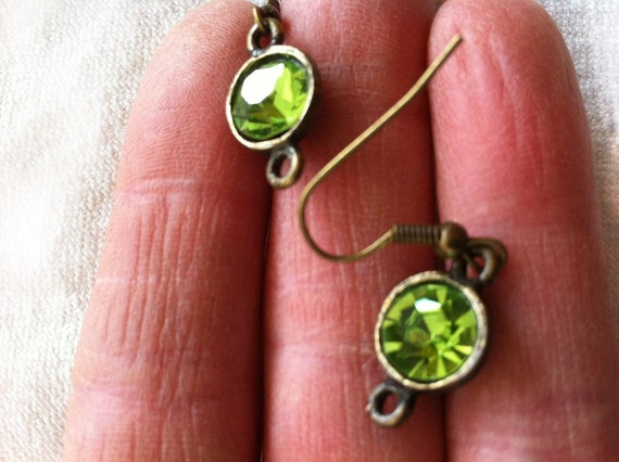 Reserved for Sheila - Green Crystal Earrings, Vintage Glass and Setting, New Ear Wires, Gift Idea