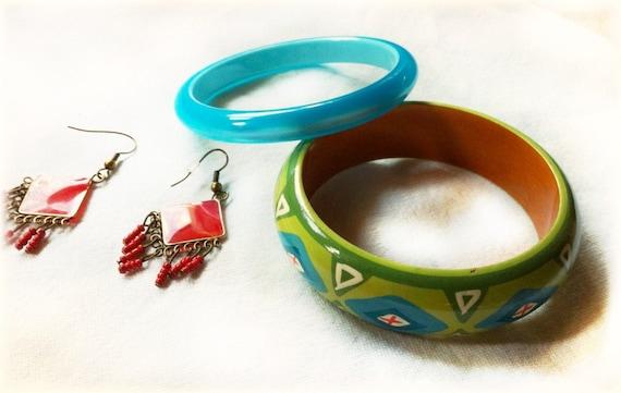 Set of Blue Green Bangle Bracelets - reserved for Amanda