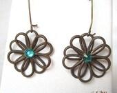 Blue Zircon Flower Earrings