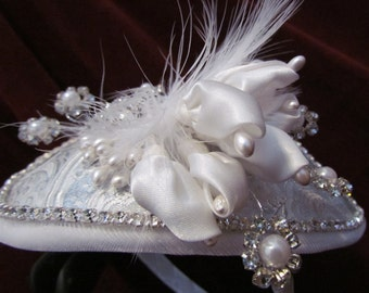 Silver Flowers, wedding headpiece with satin flowers, pearls, rhinestones and white flowers.
