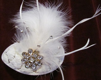 Winter Wonder, fur, rhinestones, feathers, vintage brooch, wedding