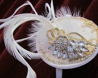 Wings Of Joy, White feathers, vintage rhinestone brooch, rhinestone trim, wedding lace
