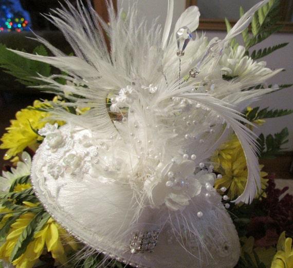 White Wedding, Feathers, Rhinestones, Flowers, Pearl Sprays.