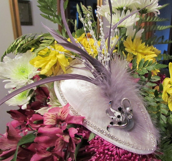Cool Grey Party Headpiece with Rhinestones, Vintage Jewelry and sprays of Pearls
