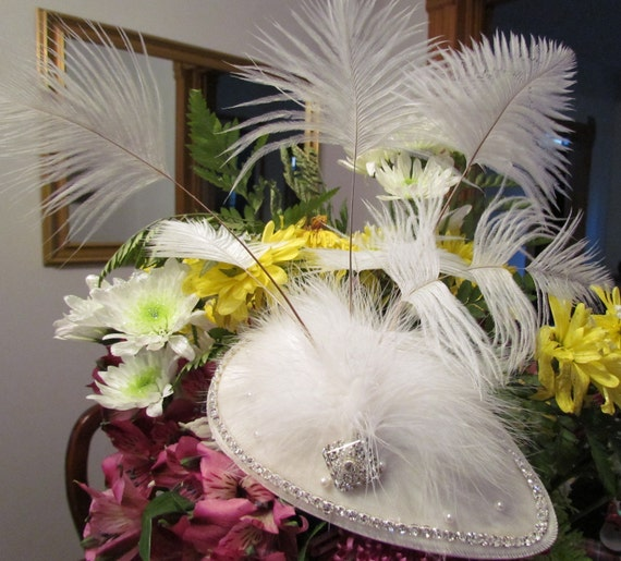 Bridal Fascinator with white velvet, rinestones and ostrich heathers