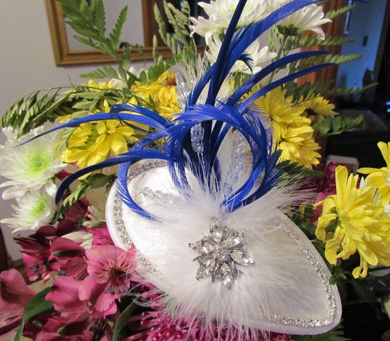 Blue Bling, White and blue feathers, rhinestones, velvet fascinator, headpiece, hat.