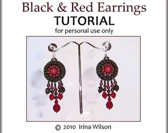 PDF TUTORIAL - Black and Red Earrings