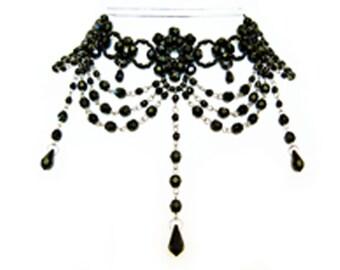 KIT (instructions and materials) - Black Crystal Choker