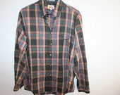 Mens Long Sleeve Brown Plaid Shirt