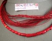 SALE Necklace red linen thread red wood beads knots braid metal closure mediterranean style handmade