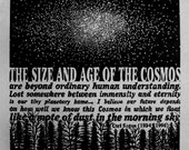 COSMOS - woodcut -  orignal relief print - Carl Sagan - Quote - Stars