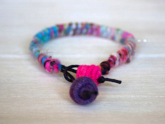 Wool Yarn Charm Bracelet - pink white blue