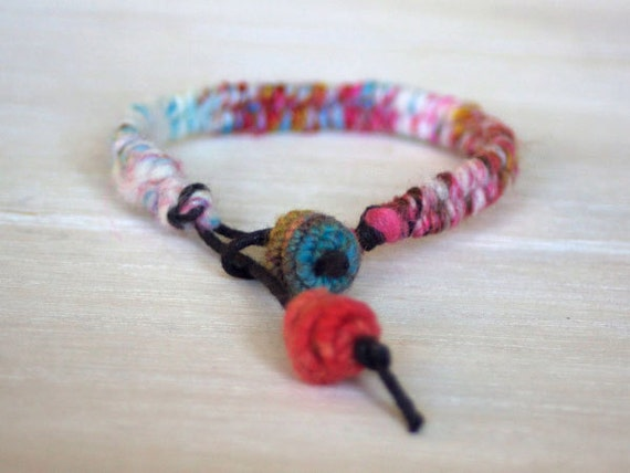 Wool Yarn Charm Bracelet - colorful