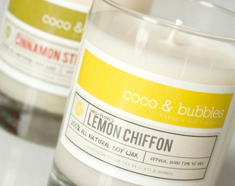 No. 103: LEMON CHIFFON  // Natural Soy Candle // 13 oz // Highly Scented
