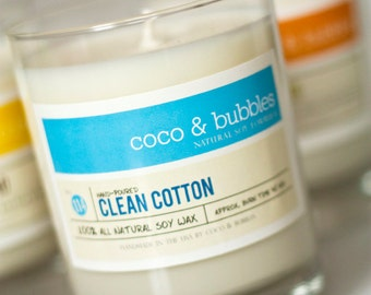 No. 114: CLEAN COTTON // Natural Soy Candle // 13 oz // Highly Scented
