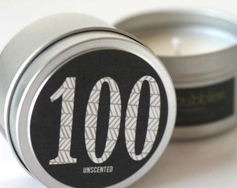 No. 100: UNSCENTED  // Natural Soy Candle // 6 oz Tin // Highly Scented