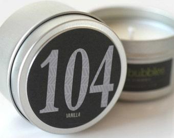 No. 104: VANILLA  // Natural Soy Candle // 6 oz Tin // Highly Scented