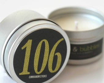 No. 106 CINNAMON STICKS  // Natural Soy Candle // 6 oz Tin // Highly Scented