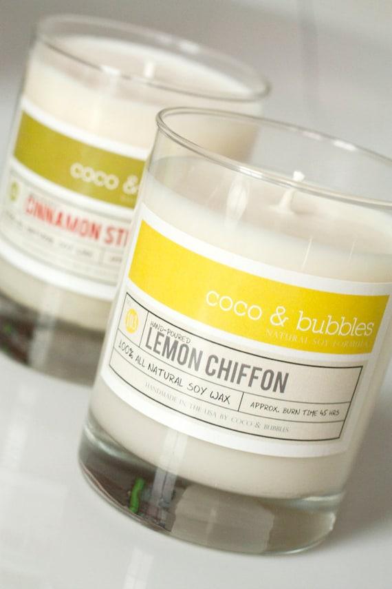No. 103: LEMON CHIFFON  // Natural Soy Candle // 13 oz // Highly Scented