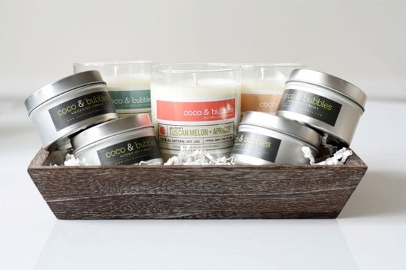 Wooden Tray Soy Candle Gift Set // You Pick Scents