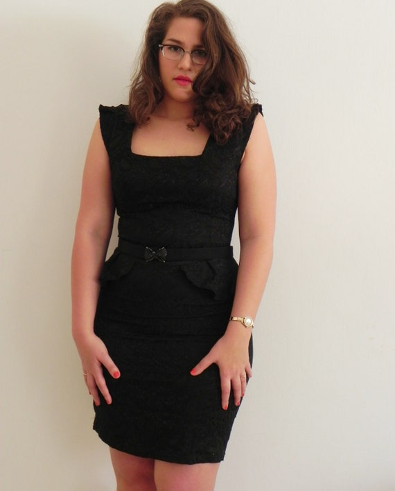 Sexy Black 1980s Peplum Pencil Dress