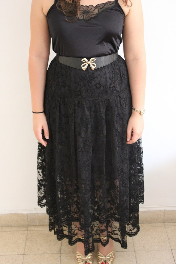 80s Vintage Black Lace Layered Tiered Maxi Skirt
