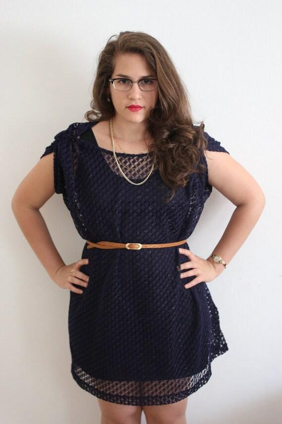 1980s Navy Blue Oversized Knit Shirt Tunic Dress - SALE