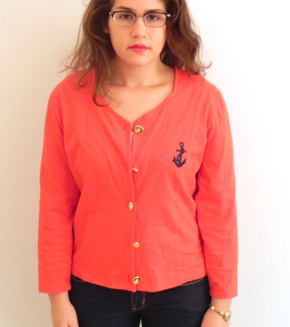 Vintage Red Sailor Anchor Nautical Jacket Cardigan