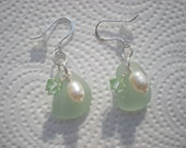 Beautiful Seafoam Green Sea Glass Earrings Made With All Sterling Silver With Fresh Water Pearls and Swarovski Crystals