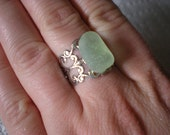 sea glass ring, adjustable ring, filigree ring, beach glass ring, sea glass jewelry, beach glass jewelry, beach jewelry, beach ring