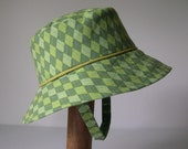Green Argyle Handmade Sun Hat - Newborn to 24 Months