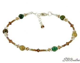 Topaz Fire Agate Gemstone Beaded Anklet