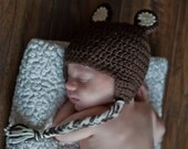 Crochet, Baby Bear Beanie with Earflaps (Toddler, Child, & Youth/ Adult sizes) - knit, newborn, hat, boy, girl, baby, photo, prop