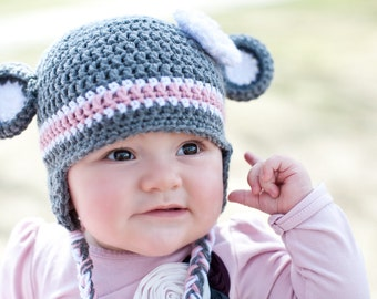 Crochet Sock Monkey Beanie with Earflaps (Toddler, Child & Youth/Adult sizes) - baby, knit, hat, boy, girl