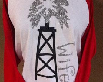Roughneck Oilfield wife Glitter 3/4 sleeve Baseball 2 tone shirt