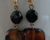 Tortoise shell Dangle Earrings Upcycled Handmade Earrings