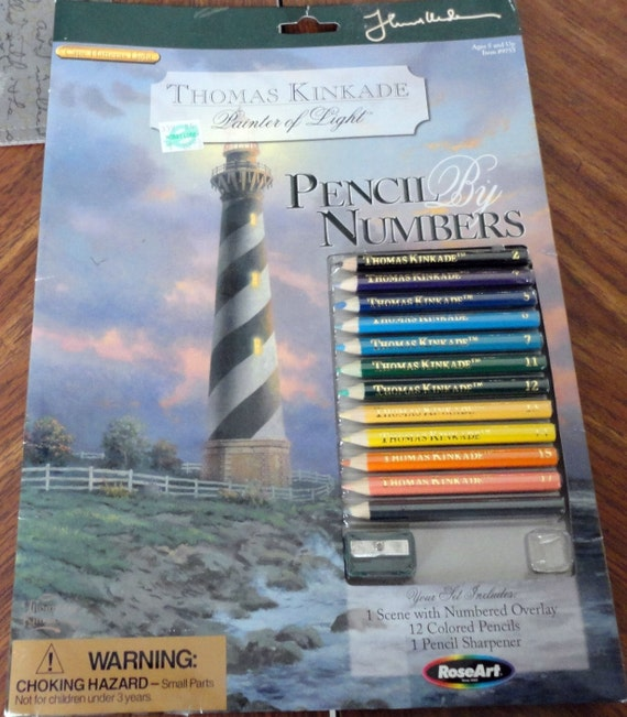 Colour By Number Kits : DIY Thomas Kinkade Color by numbers Light House Kit
