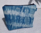 Indigo Dyed Shibori Zipper Bag/Clutch/Wristlet