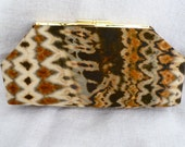 Shibori Tie Dyed Silk Clutch Bag in Rich Browns and Black