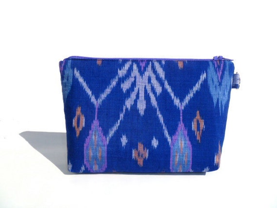 Blue Handwoven Balinese Ikat Zipper Bag/Clutch