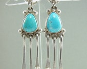 Natural Kingman Arizona Turquoise Dangle Earrings w/ Post & Clutch
