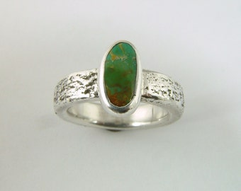 "Green ""Verde Mine"" CERRILLOS Turquoise Ring - Size 6 1/2 Direct from New Mexico Turquoise MIner"