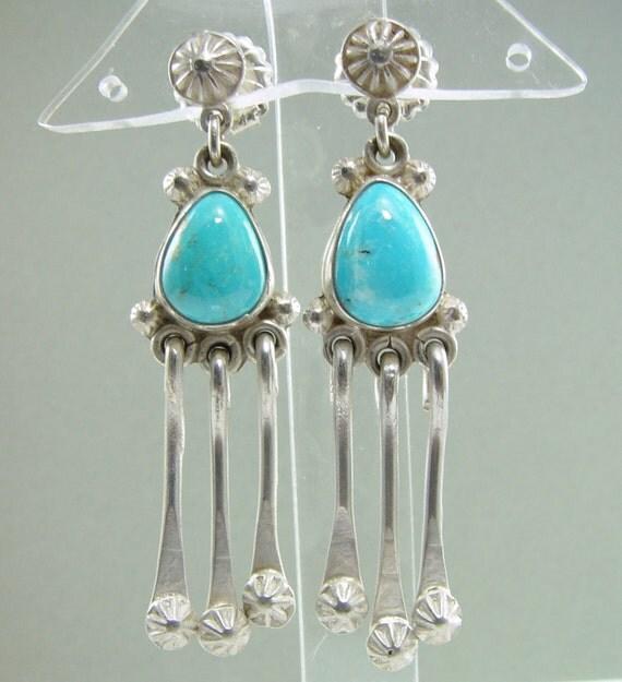 Natural Kingman Arizona Turquoise Dangle Earrings w/ Post & Clutch